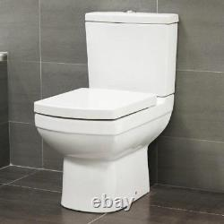 600mm Square Compact Short Projection Close Coupled Toilet Cistern Wrapover seat