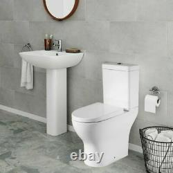 Back To Wall Toilet Close Coupled Open Back Modern Soft Closing Seat White Gloss