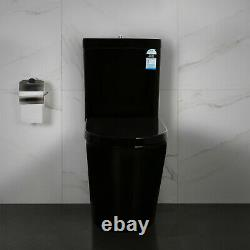 Black Close Coupled Back to wall Round Toilet WC Free Bathroom Soft Close Seat