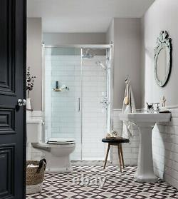 Burlington Close Coupled Toilet Pan, White, P5, Traditional Style