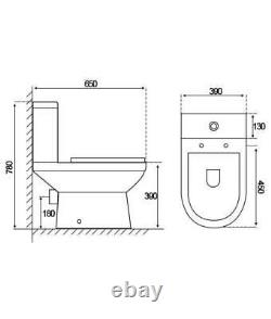 Charlie Compact Short Projection Close Coupled Toilet wc Cistern soft seat