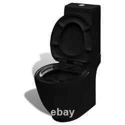 Close Coupled Bathroom Toilet Ceramic Soft Close Seat Black Dual Flush WC