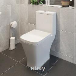 Close Coupled Bathroom Toilet Modern White Square Ceramic Soft Close Seat WC Pan