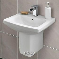 Close Coupled Toilet & 460mm Semi-Pedestal Basin 1 Tap Hole Bathroom Suite Loo