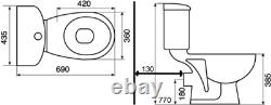 Close Coupled Toilet Ceramic Toilet WC Bathroom Pan Cistern & Soft Close Seat