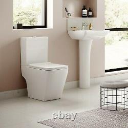 Close Coupled Toilet & Full Pedestal Basin Modern Round Ceramic Bathroom Suite