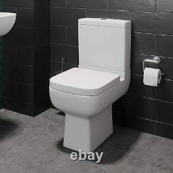 Close Coupled Toilet Modern WC Soft Close Seat Square Bathroom Toilet Dual Flush