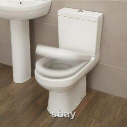 Close Coupled Toilet & Seat Dual Flush Cistern White Ceramic Bathroom WC Modern