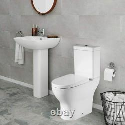 Close Coupled Toilet WC White Ceramic Soft Closing Seat Modern Back to Wall