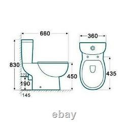 Comfort Height Close Coupled Toilet & Soft Close Seat Round Bathroom Loo WC