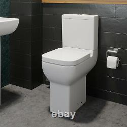 Comfort Raised Height Close Coupled Toilet Bathroom WC Modern White Soft Close