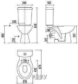 Creavit Pitta Combined Bidet Open Back Round close coupled toilet pan wc seat