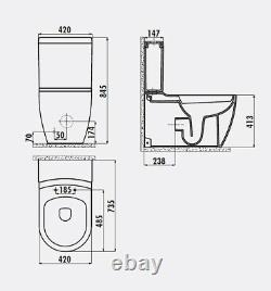 Creavit Rimless XL Close Coupled Combined Bidet Toilet Pan WC Back to wall