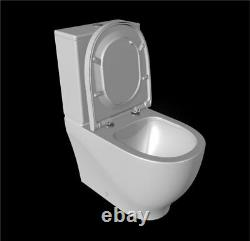 Creavit Round Rimless Close Coupled Toilet Pan WC Back to wall soft close Seat