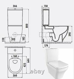 Creavit Square Rimless Close Coupled Toilet Pan WC Back to wall soft close Seat