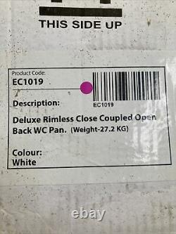 Deluxe Rimless Close Coupled Open Back WC Toilet Pan EC1019