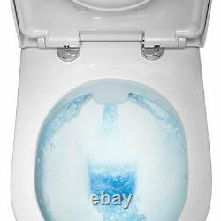Deluxe Round Rimless close coupled open Back Toilet Pan WC Soft Close Seat