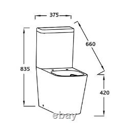 JADE Square Close Coupled Rimless WC Toilet Pan Back to wall wrap over soft seat