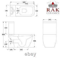 Metropolitan Close Coupled Toilet WC Push Button RAK Cistern Soft Close Seat