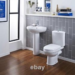 Modern Compact Round Short Projection Toilet WC Close Coupled Soft Close Seat