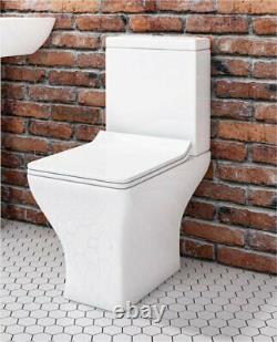 Modern Compact Square Short Projection Toilet WC Close Coupled slim Soft Seat