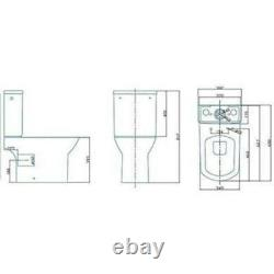 Modern Milan square Close Coupled Toilet pan wc cistern open back Slim Soft seat