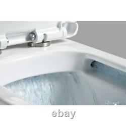Modern Rimless Back to wall square Close Coupled WC pan Soft Close Wrap Seat