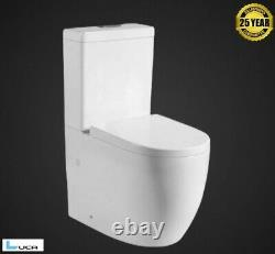 Modern Round Closed Coupled Toilet Swirl Power Flush Soft Closing NEW with Seat