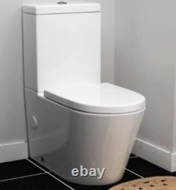 Modern Round Rimless Closed Coupled WC Toilet with Cistern and Soft Close Seat