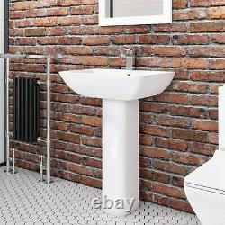 Modern Toilet & Basin 2 Piece Suite Close Coupled Full Pedestal Sink Bathroom