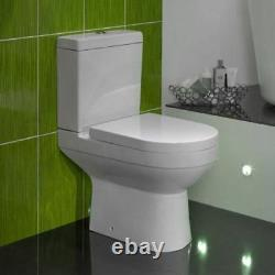 Modern White Ceramic Round Toilet Close Coupled Bathroom Pan & Seat WC 680mm