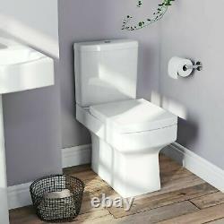 Modern White Ceramic Square Toilet Close Coupled Bathroom Pan & Seat WC P Trap