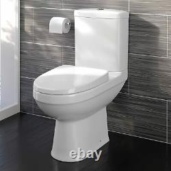 Modern White Close Coupled Toilet with Cistern Soft Close Seat