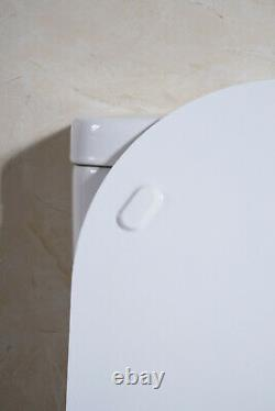 NEW Belissa Round Back To Wall Close Coupled Modern Toilet WC Soft Close Seat