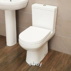 NEW Modern White Bathroom Soft Close Coupled Toilet WC Cistern Seat + Dual Flush