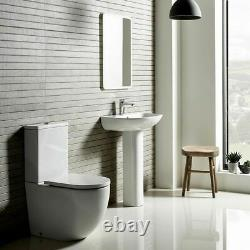 New Back to wall Coupled WC Toilet Soft Closing Seat Free Pan Connector Improved