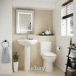 Nuie NCS250 Ivo MModern Ceramic Coupled Toilet and Soft Close Seat, White, Se