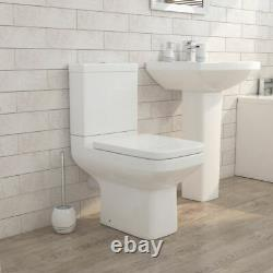 Perth square Close Coupled Toilet pan wc open back Soft seat 600