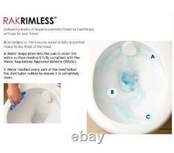 RAK 625mm Rimless Toilet Compact Deluxe Close Coupled Fully Back To Wall WC Pan