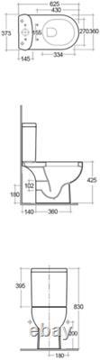 RAK Ceramics Tonique Close Coupled Toilet WC Soft Close Seat Full Access White