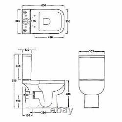 RAK Series 600 Square Short Projection close coupled Toilet Wc Soft Close Seat