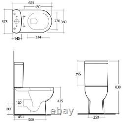RAK Tonique Fully BTW Close Coupled WC Toilet Pan Soft Close Toilet Seat 625mm