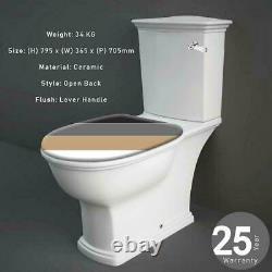 RAK Traditional Close Coupled WC Toilet Push Button Lever Handle Soft Close Seat