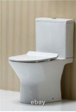 Rimel Comfort Rimless Close Coupled Toilet Pan WC Open Back soft close Seat