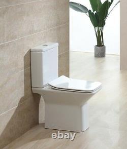 Rimel Square Rimless Close Coupled Toilet Pan WC Open Back soft close Seat