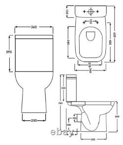 Rosa Square Compact Short Projection Close Coupled Toilet Pan WC soft seat