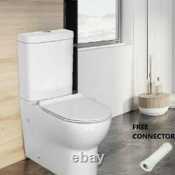 Round Back To Wall Close Coupled Modern Toilet WC Soft Close Free Connector