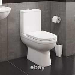 Round Bathroom Toilet Close Coupled Modern WC Soft Close Seat Dual Flush White