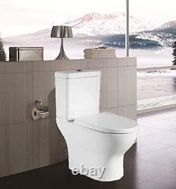 Semi Flush to Wall Toilet Close Coupled WC White Ceramic Soft Close Seat Modern