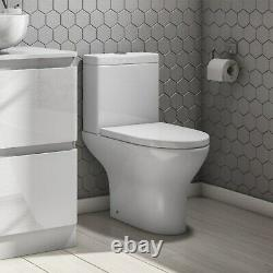 Short Projection Close Coupled Toilet & Soft Close Seat Modern Cloakroom Loo WC